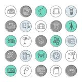 Photography equipment flat line icons.. Digital, video camera, lighting, accessories, memory card, tripod lens film. Vector illustration, signs for photo studio Royalty Free Stock Photo