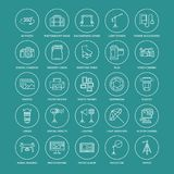 Photography equipment flat line icons.. Photography equipment flat line icons. Digital camera, photos, lighting, video cameras, photo accessories, memory card Royalty Free Stock Image