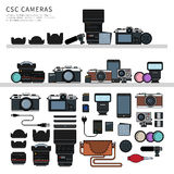 Photography equipment flat line Royalty Free Stock Photo