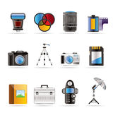 Photography Equipment Icons Stock Image