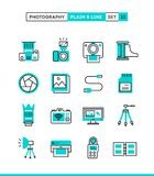 Photography, equipment, post-production, printing and more. Plai. N and line icons set, flat design, vector illustration Royalty Free Stock Images