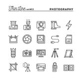 Photography, equipment, post-production, printing and more, thin. Line icons set, vector illustration Stock Photo