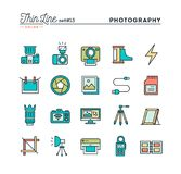 Photography, equipment, post-production, printing and more, thin. Line color icons set, vector illustration Royalty Free Stock Photos