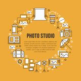 Photography equipment poster with flat line icons. Digital camera, photos, lighting, video cameras, photo accessories Royalty Free Stock Photography
