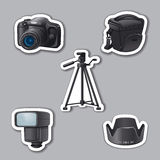 Photography equipment stickers Stock Photography