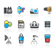 Photography equipment and tools icons Royalty Free Stock Images
