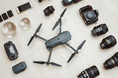 Photography equipment on wooden background stock photography