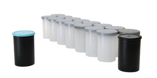 Photography film canisters stock image