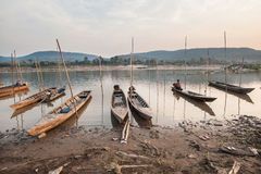 Photography of fishing boats on the mekong river Stock Photo