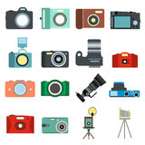 Photography flat icons. Set  on white background Royalty Free Stock Photo