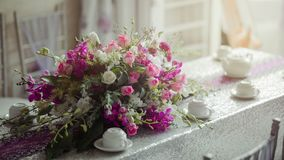 Photography of Flowers near Cups Royalty Free Stock Image