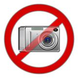 Photography forbidden sign. Isolated on white stock photo