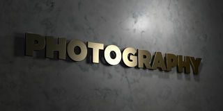 Photography - Gold text on black background - 3D rendered royalty free stock picture Royalty Free Stock Photos