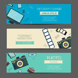 Photography horizontal banner set with photographer equipment flat elements isolated illustration Stock Photography