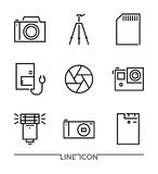 Photography icon set; Multimedia flat thin line Icons vector. Camera Accessories Stock Image