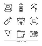 Photography icon set; Multimedia flat thin line Icons vector. Camera Accessories Royalty Free Stock Photos