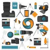 Photography icon set with photo, camera equipment. Colour flat v Stock Photos