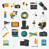 Photography icon set with photo, camera equipment. Colour flat  Royalty Free Stock Photo