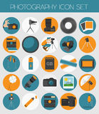 Photography icon set with photo, camera equipment. Colour flat  Royalty Free Stock Photos