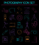 Photography icon set with photo, camera equipment. Outline versi Royalty Free Stock Images