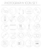 Photography icon set with photo, camera equipment. Outline version Royalty Free Stock Image