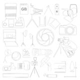 Photography icon set with photo, camera equipment.  Royalty Free Stock Photography
