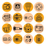 Photography icon set. Set of 16 round icon with photography symbols and signs Stock Images