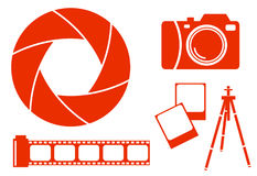 Photography icons. Collection of photography icons, illustration Royalty Free Stock Photo