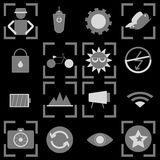 Photography icons on black background Royalty Free Stock Photos