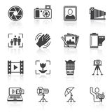 Photography icons black Royalty Free Stock Images