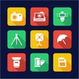 Photography Icons Flat Design Royalty Free Stock Image
