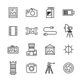 Photography Icons. In Outline Style Royalty Free Stock Image