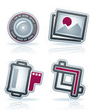 Photography Icons Set. Photography tools & equipment icons set, pictured here from left to right Stock Image