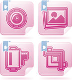 Photography Icons Set. Photography tools & equipment icons set, pictured here from left to right, top to bottom Stock Photography