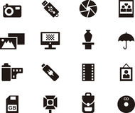 Photography icons. Set of black and white icons relating to photography Royalty Free Stock Photos