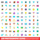 100 photography icons set, cartoon style Stock Photography