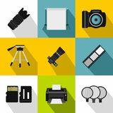 Photography icons set, flat style. Photography icons set. Flat illustration of 9 photography vector icons for web Royalty Free Stock Photography