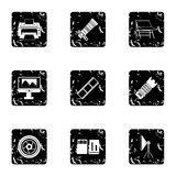 Photography icons set, grunge style. Photography icons set. Grunge illustration of 9 photography vector icons for web Stock Photos