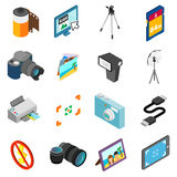 Photography icons set, isometric 3d style Stock Image