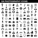 100 photography icons set, simple style Royalty Free Stock Photography