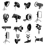Photography icons set, simple style. Photography icons set in simple style isolated on white background Stock Image