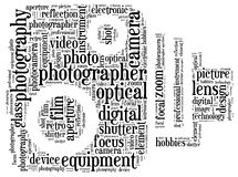 Photography info-text. Graphics and arrangement with classic camera shape concept Stock Photos