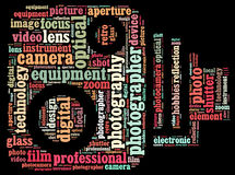 Photography info-text. Graphics and arrangement with classic camera shape concept Stock Image