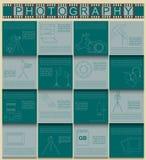 Photography infographics set with photo, camera equipment Stock Photos