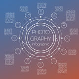 Photography infographics set with photo, camera equipment Stock Image