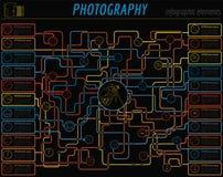 Photography infographics set with photo, camera equipment Stock Photo
