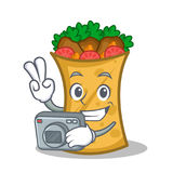 Photography kebab wrap character cartoon. Vector illustration stock illustration