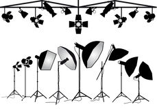 Photography lighting equipment, vector set Royalty Free Stock Photos
