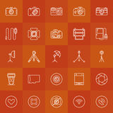 Photography linear icons set Royalty Free Stock Images