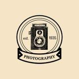 Photography logo. Vector vintage old camera label, badge, emblem. Hand sketched illustration for studio, store etc. Stock Images